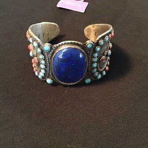 Silver & lapis cuff bracelet NWOT.
